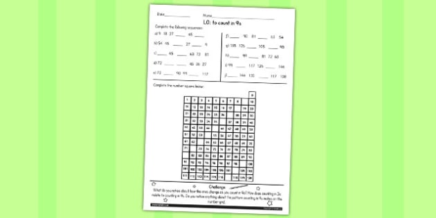 Counting in 9s Worksheet - counting, maths, 9, worksheet, ks2