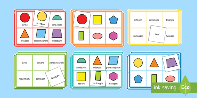 2D Shape Properties Bingo