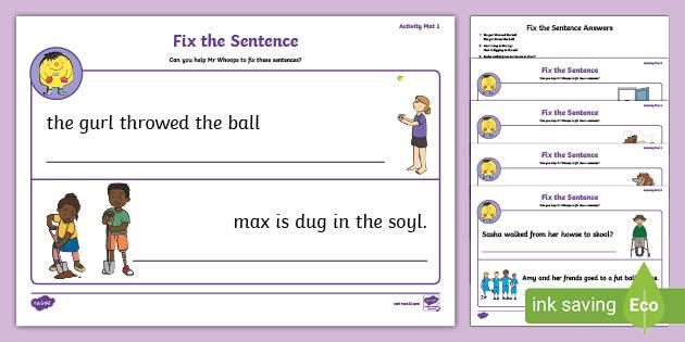 FREE! - Fix The Sentence Worksheet Pack - English Resource - Twinkl