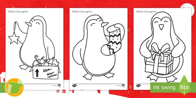 NEW * Colorea el pinguino de Navidad Fichas de actividad