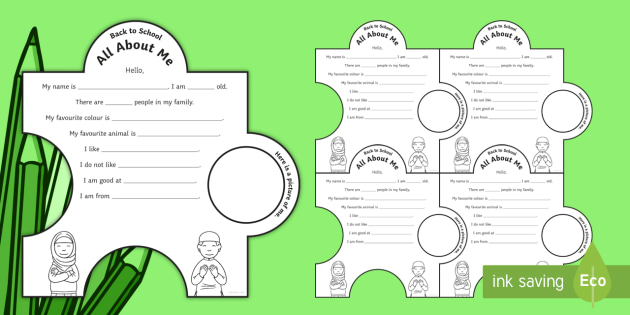 Back to School - All About Me Jigsaw Activity - me, myself, back to
