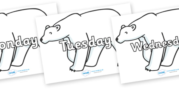 Days of the Week on Polar Bears - Days of the Week, Weeks poster, week, display, poster, frieze, Days, Day, Monday, Tuesday, Wednesday, Thursday, Friday, Saturday, Sunday