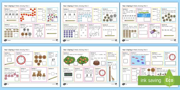 Year 1 Spring 1 Maths Activity Mats - Twinkl
