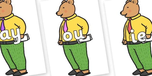 Phase 5 Phonemes on Mr Bear to Support Teaching on The Jolly Christmas Postman - Phonemes, phoneme, Phase 5, Phase five, Foundation, Literacy, Letters and Sounds, DfES, display