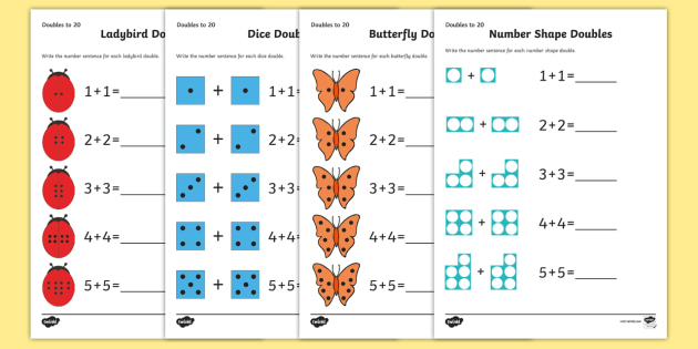 Doubles To 20 Worksheets Maths Resource Twinkl