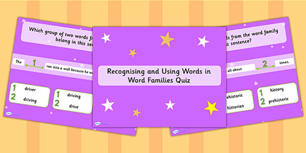 Recognising and Using Words in Word Families SPaG PowerPoint