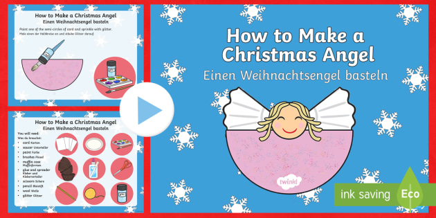 Christmas Angel Craft PowerPoint English/German - Holidays
