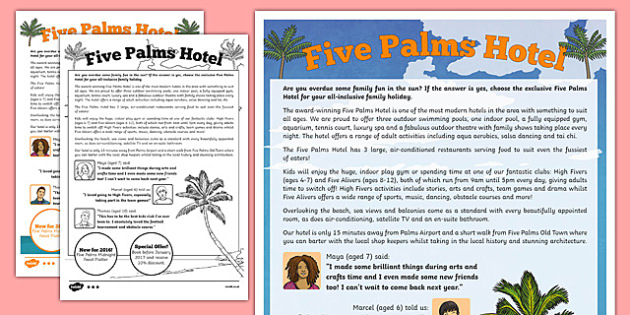Hotel Advertisement Writing Sample