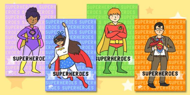 Superhero Display Posters - Superhero, superheroes, hero, poster, banner, sign, display, A4 display, batman, superman, spiderman, special, power, powers, catwoman, liono, he-man