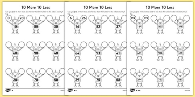 10 More 10 Less Robots Worksheet / Worksheet - activity ...