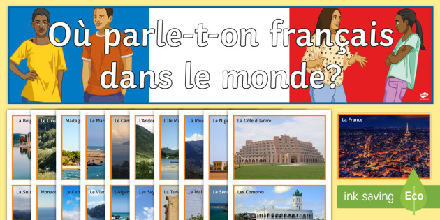 French Speaking Countries Photo Display Pack French - francophonie, language, classroom, organisation, KS3, KS4,French