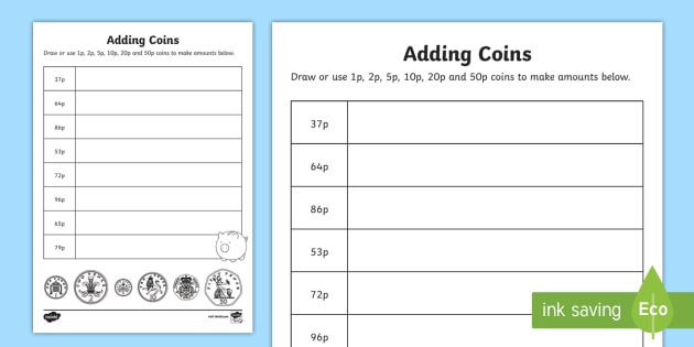 adding coins 1p 2p 5p 10p 20p 50p worksheet worksheet ni ks1. Black Bedroom Furniture Sets. Home Design Ideas
