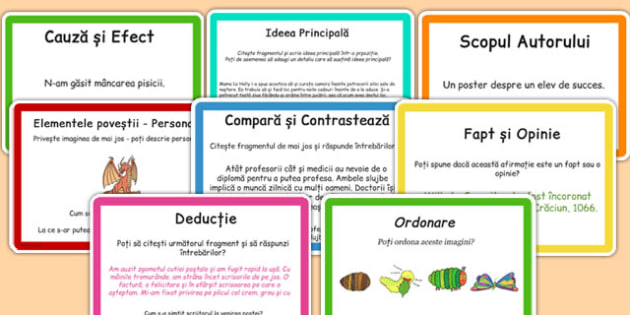 Guided Reading Skills Task Cards Romanian Translation - romanian, guided reading