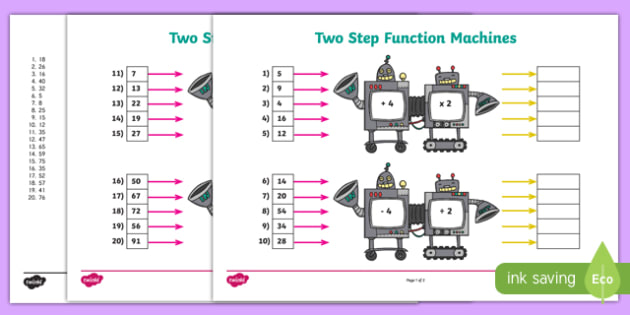 Two-Step Function Machines Activity Pack