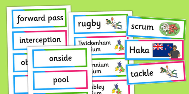 Rugby World Cup Vocabulary Cards - rugby, world cup, vocabulary
