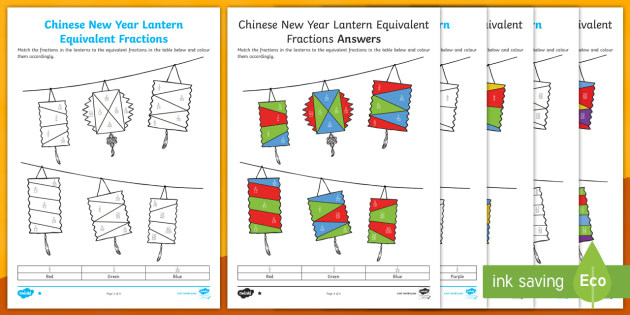 NEW* Chinese New Year: Lantern Equivalent Fractions Coloring Worksheet