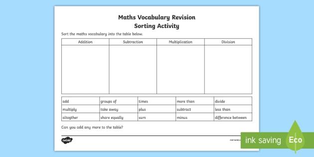 maths vocabulary revision sorting worksheet  worksheet  back to school maths vocabulary revision sorting worksheet  worksheet  back to school  maths language addition