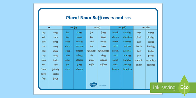 Year 1 SPaG Plural Noun Suffixes -,singular and plural, s and -es Word Mat