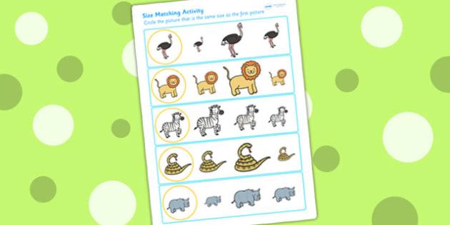 Safari Size Matching Worksheets - size order, ordering, jungle