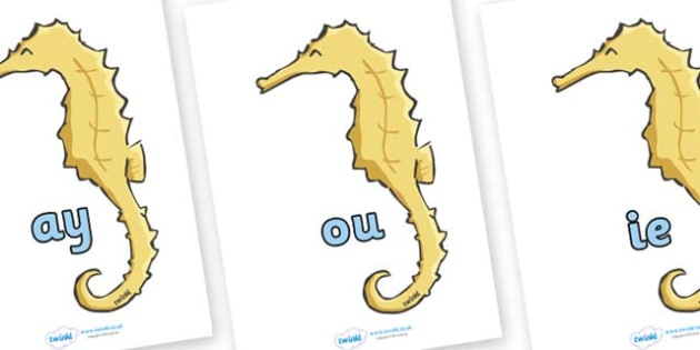 Phase 5 Phonemes on Seahorses - Phonemes, phoneme, Phase 5, Phase five, Foundation, Literacy, Letters and Sounds, DfES, display
