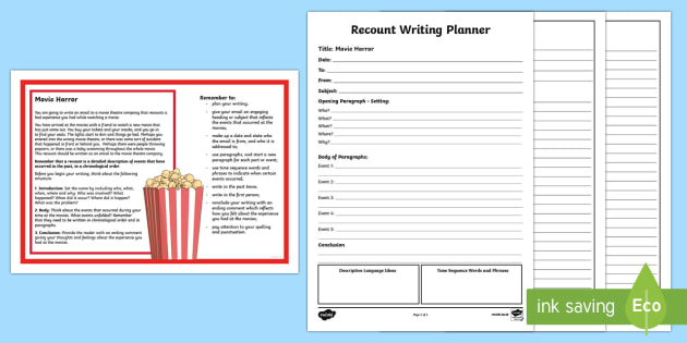 Year 5 Recount Writing  Activity Sheet