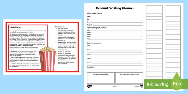 Year 5 Recount Writing Worksheet