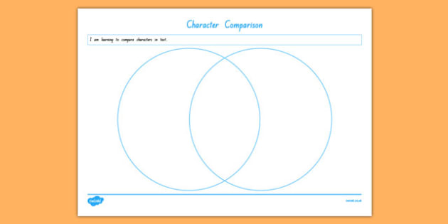 Character Comparison Venn Diagram Worksheet Activity Sheet
