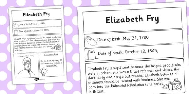 Elizabeth Fry Significant Individual Fact Sheet - fact, sheet