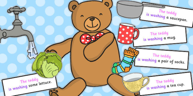 Teddy Washing Sentence Activity - sentence, activity, washing