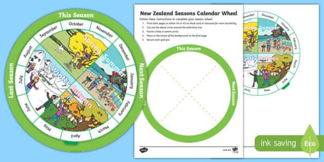 New Zealand Seasons Calendar Display Poster