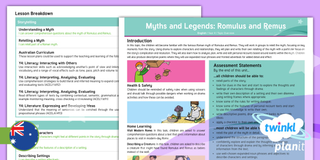FREE! - PlanIt English Year 4 Myths and Legends: Romulus and
