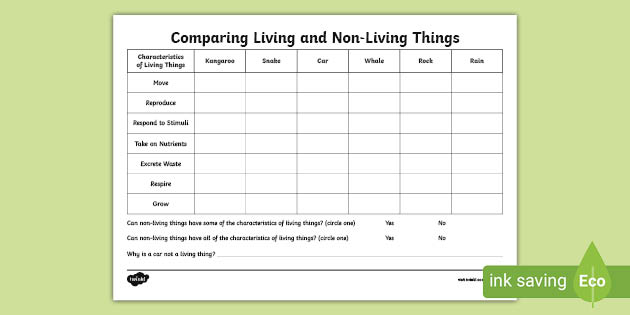 Comparing Living And Non Living Things Worksheet