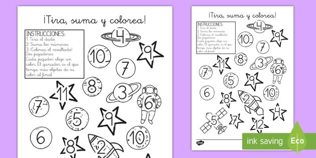 Ficha: ¡Tira, suma y colorea! - El espacio - tira, suma y colorea, el espacio, espacio, cielo, nave espacial, planetas, sistema solar, colorear,