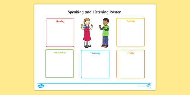 Speaking and Listening Roster  - News Telling Roster, speaking, listening, recording, assessment, display.