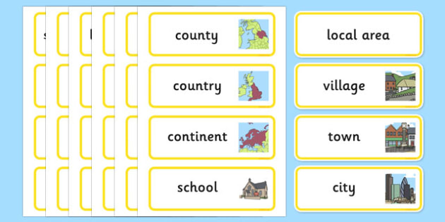 Our Local Area Word Cards - local, area, word, cards, word cards