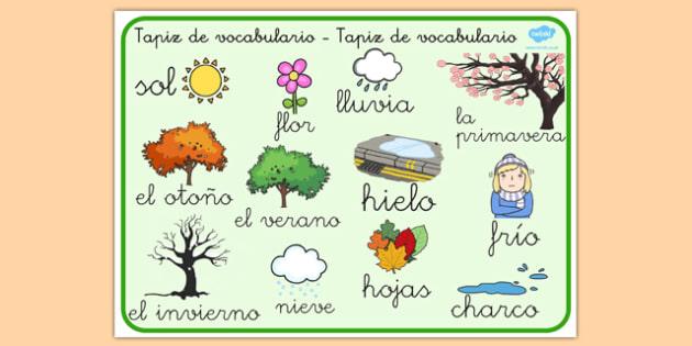 Tapiz de vocabulario de las estaciones - tapiz, vocabulario, estaciones