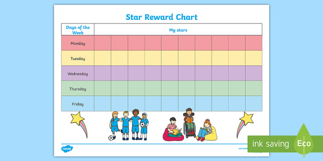 10 Box Star Day Reward Chart - 10, box, star, day, reward, chart