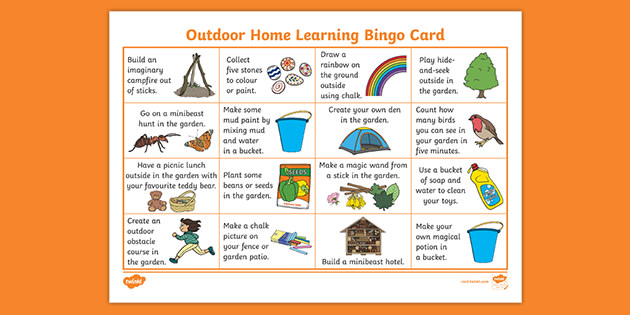 FREE! - Outdoor Home Learning Bingo Card (teacher made)