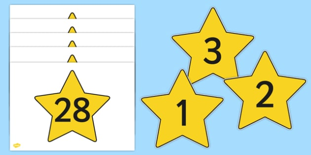 Numbers 0-30 on Stars - Foundation Numeracy, Number recognition, Number flashcards, numeracy, numbers, counting, numbers to 30, space, display