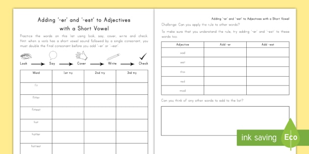 Spelling Practice Adding er and est to Adjectives Worksheet /