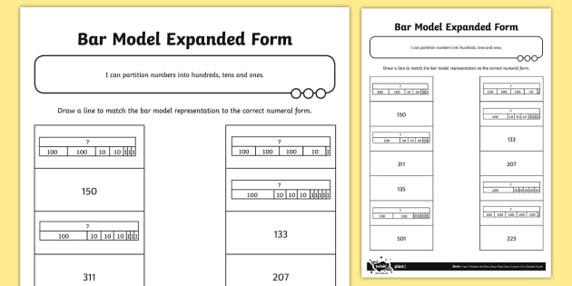 Three Digit Numbers Bar Model Expanded Form Activity Bar