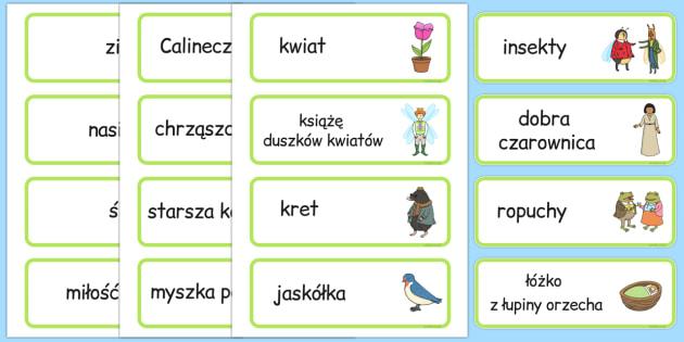 Karty ze słownictwem Calineczka po polsku - bajki, baśnie