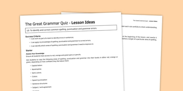 The Great Grammar Quiz Lesson Ideas - great grammar quiz, lesson, ideas