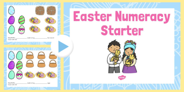 Easter Numeracy Starter PowerPoint - easter, numeracy, starter, powerpoint, maths, numbers