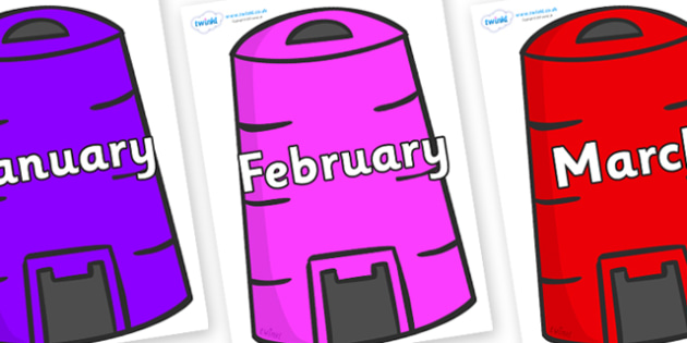 Months of the Year on Recycling Bins - Months of the Year, Months poster, Months display, display, poster, frieze, Months, month, January, February, March, April, May, June, July, August, September