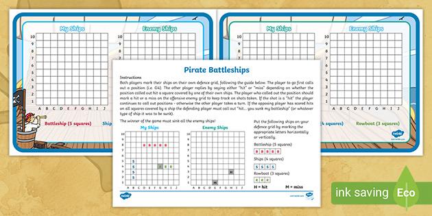 Pirate Themed Battleship Activity Primary Resource