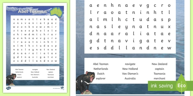 fe2d6d8fe Abel Tasman Word Search - HASS, The journey(s) of AT LEAST ONE world