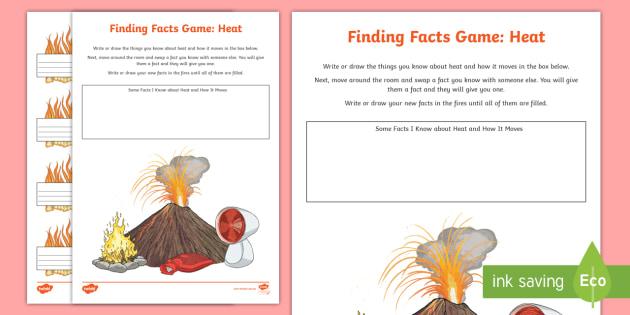 Heat Finding Facts Worksheet / Worksheet - ACSSU049, conduction ...
