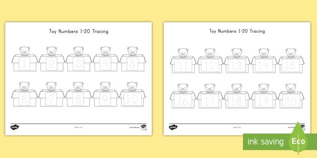 photograph regarding Asl Numbers 1-20 Printable named Toy Figures 1-20 Tracing Worksheet / Worksheet - Tracing