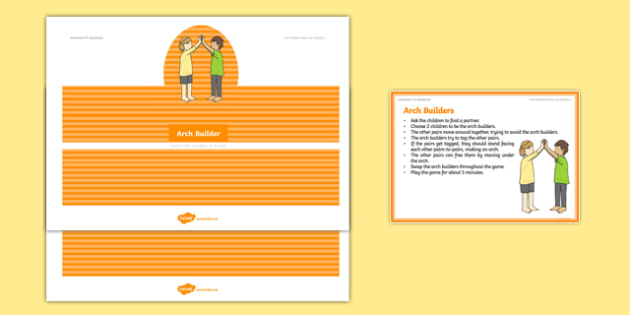 Foundation PE (Reception) Arch Builders Warm-Up Activity Card - physical activity, foundation stage, physical development, games, dance, gymnastics